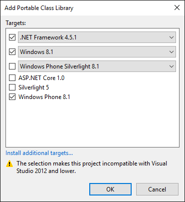 The Visual Studio 2015 PCL platform selection dialog