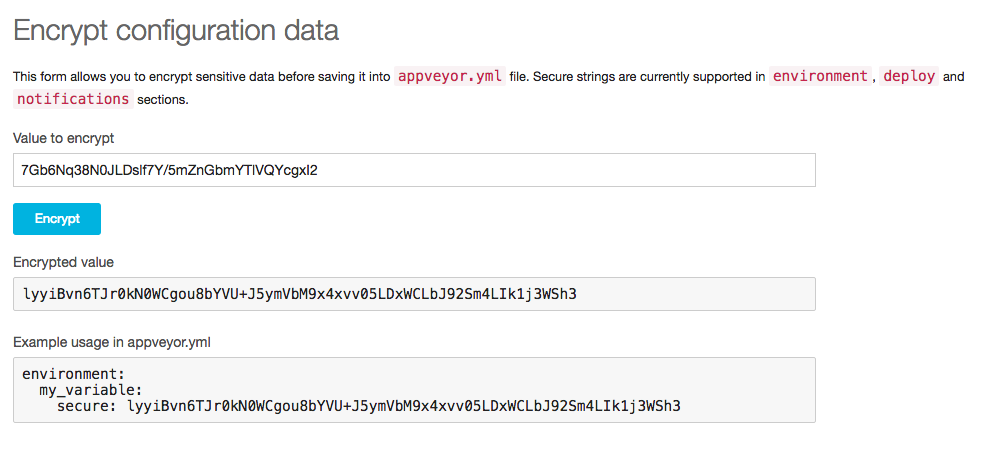 Encrypting your API keys for appveyor.yml