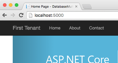 first tenant at localhost:5000