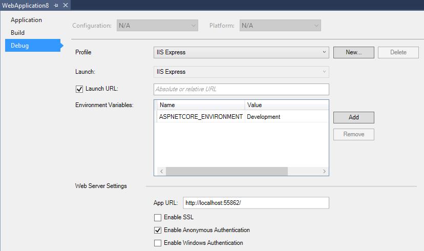 How to configure urls for Kestrel, WebListener and IIS express in ASP.NET Core