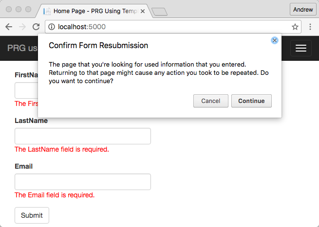 Confirm dialog when submitting invalid form