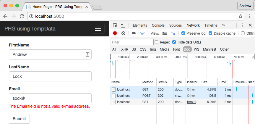 POST-REDIRECT-GET using TempData in ASP.NET Core