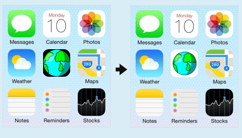 Before and after tweaking the iOS icon