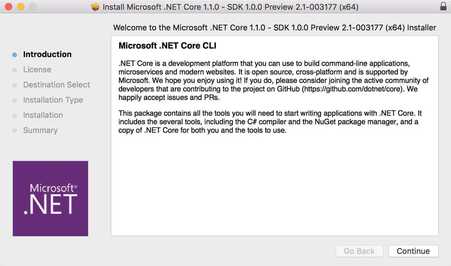 Troubleshooting ASP NET Core 1 1 0 install problems