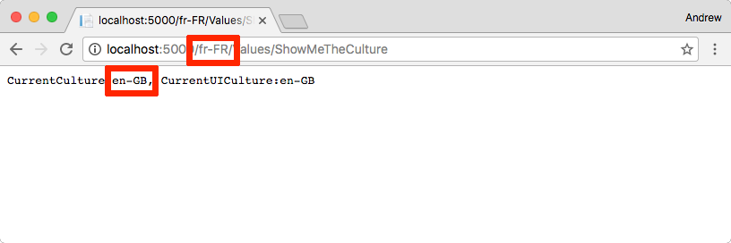 The default culture is used even though the url indicates a culture