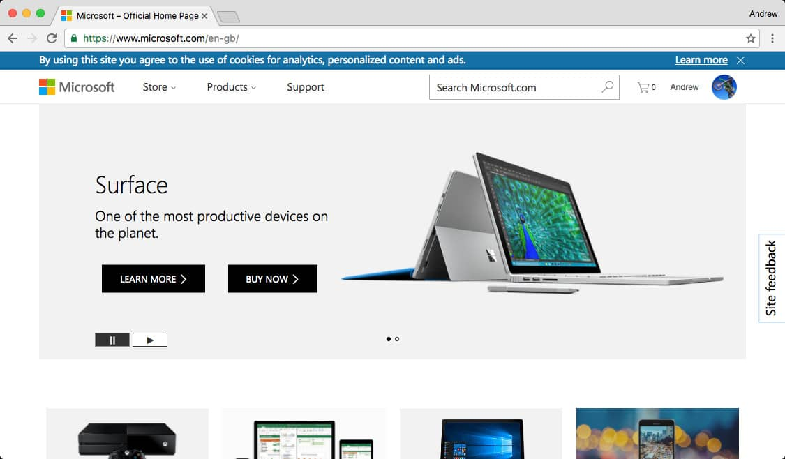 Microsoft home page with localised url