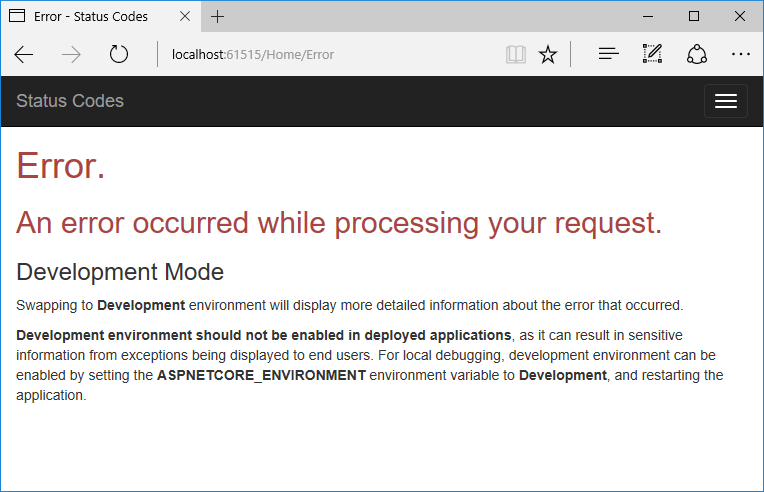 Re-execute the middleware pipeline with the StatusCodePages Middleware to create custom error pages