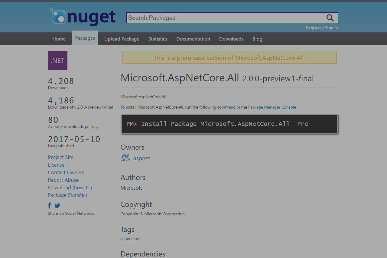 Banner image for The Microsoft.AspNetCore.All metapackage is huge, and that's awesome, thanks to the .NET Core runtime store