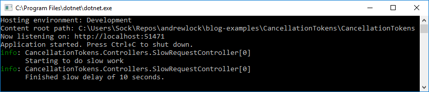 Using CancellationTokens in ASP.NET Core MVC controllers