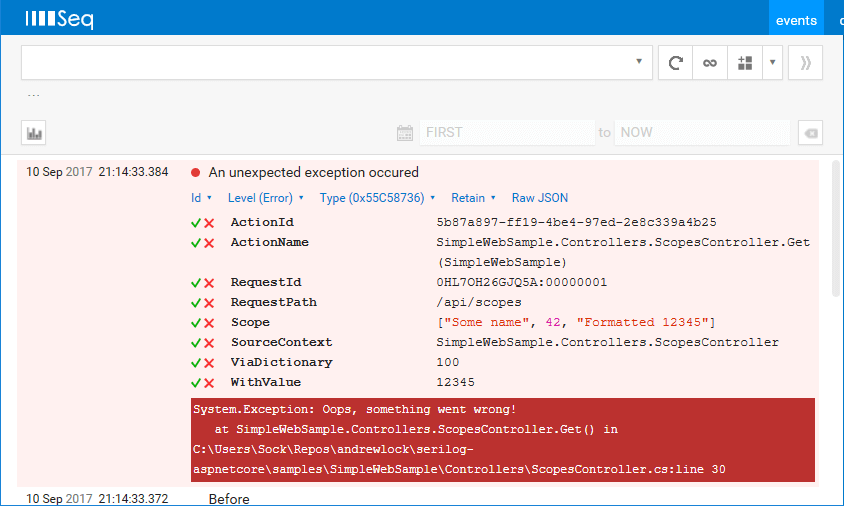How to include scopes when logging exceptions in ASP.NET Core
