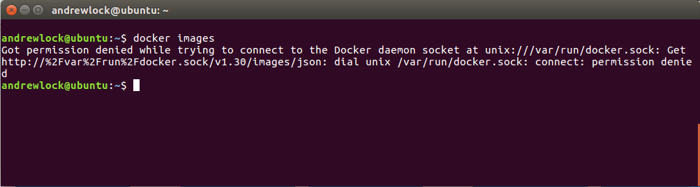 Got permission denied while trying to connect to the Docker daemon socket at unix:///var/run/docker.sock: Get http://%2Fvar%2Frun%2Fdocker.sock/v1.30/images/json: dial unix /var/run/docker.sock: connect: permission denied