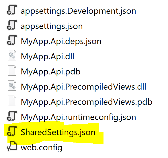Sharing appsettings.json configuration files between projects in ASP.NET Core