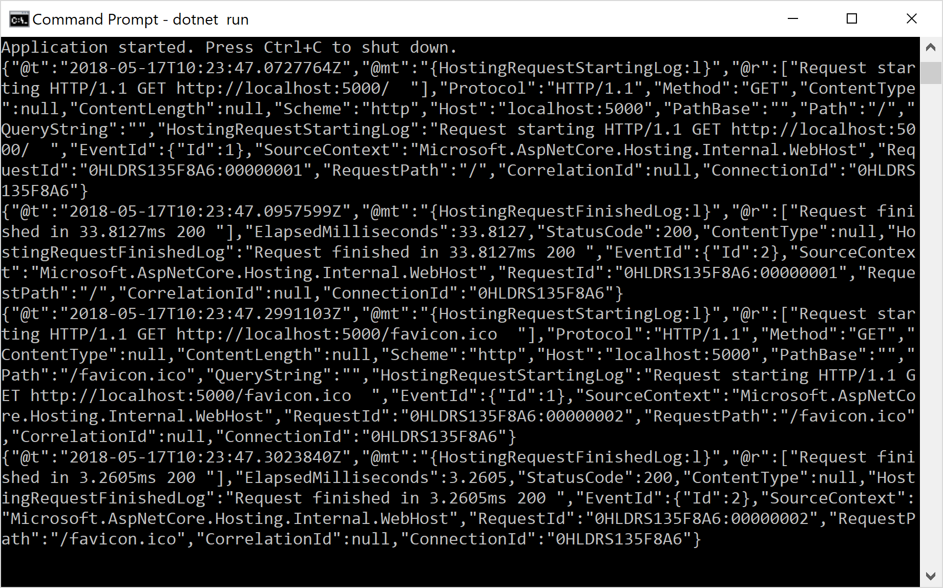 Image of logs written to the console as JSON using CompactJsonFormatter