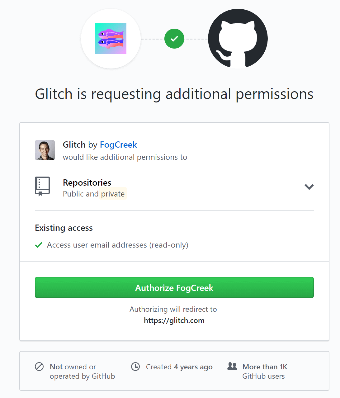 Providing Glitch access to your GitHub repositories