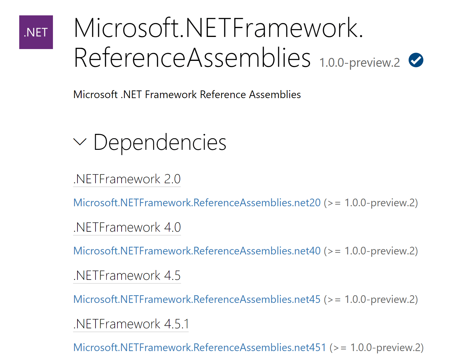 The Microsoft.NETFramework.ReferenceAssemblies nuget.org page showing its dependencies