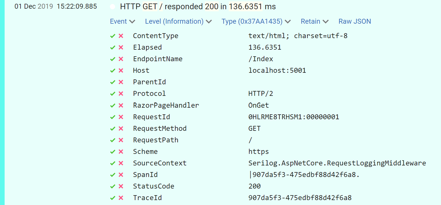 Image of extra Razor Page properties being recorded on Serilog request log