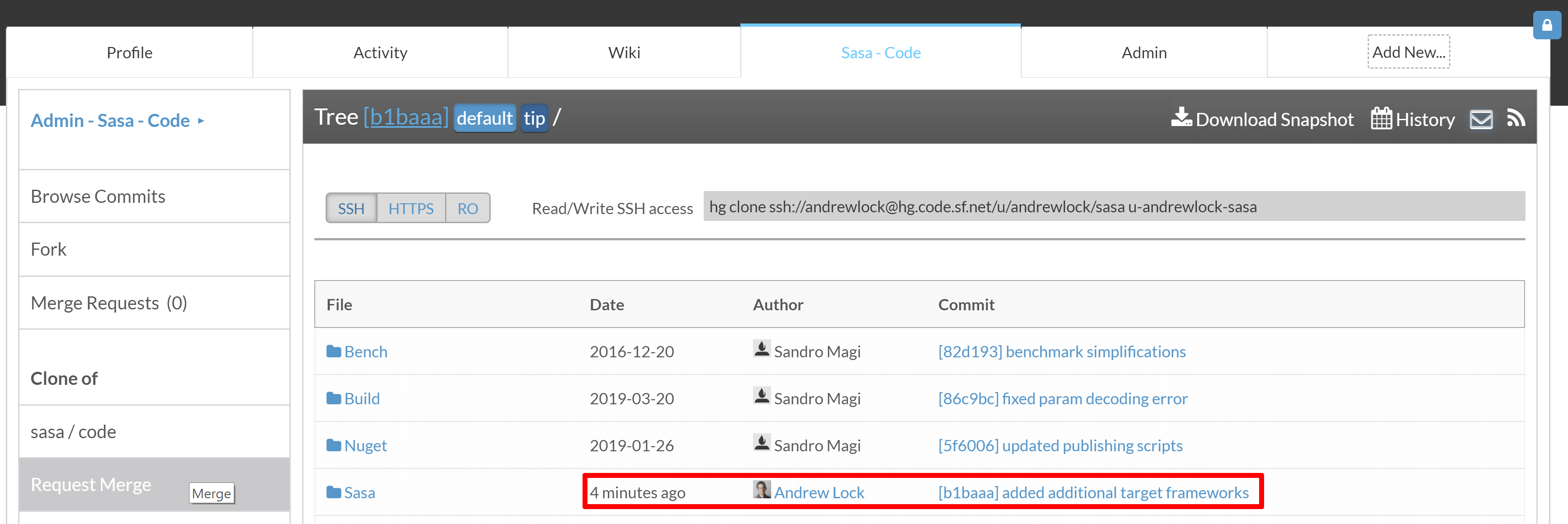 SourceForge showing the new commit