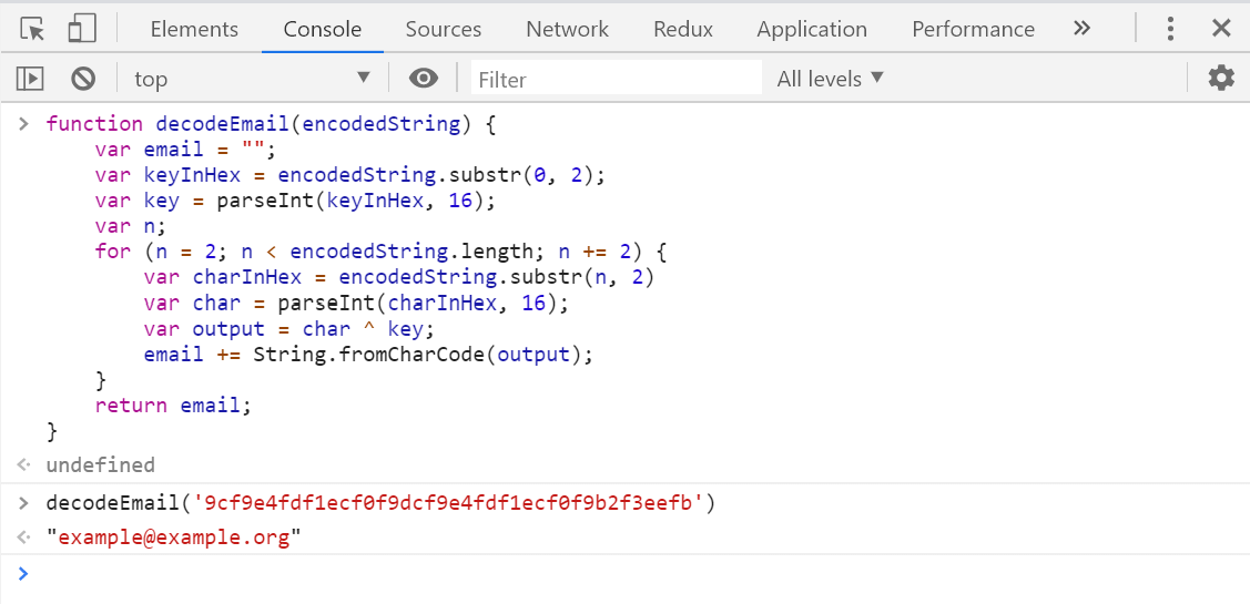 Image of decoding a string in Chrome's dev console