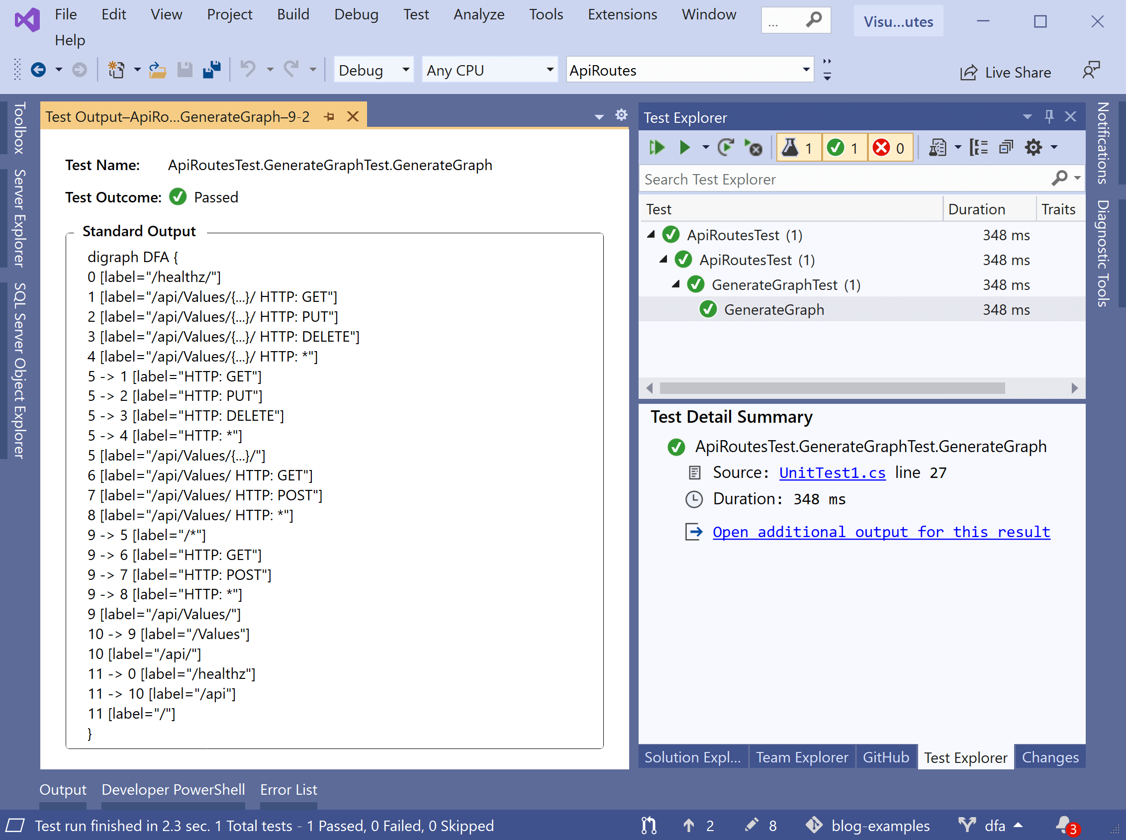 Viewing endpoint data from a test in Visual Studio
