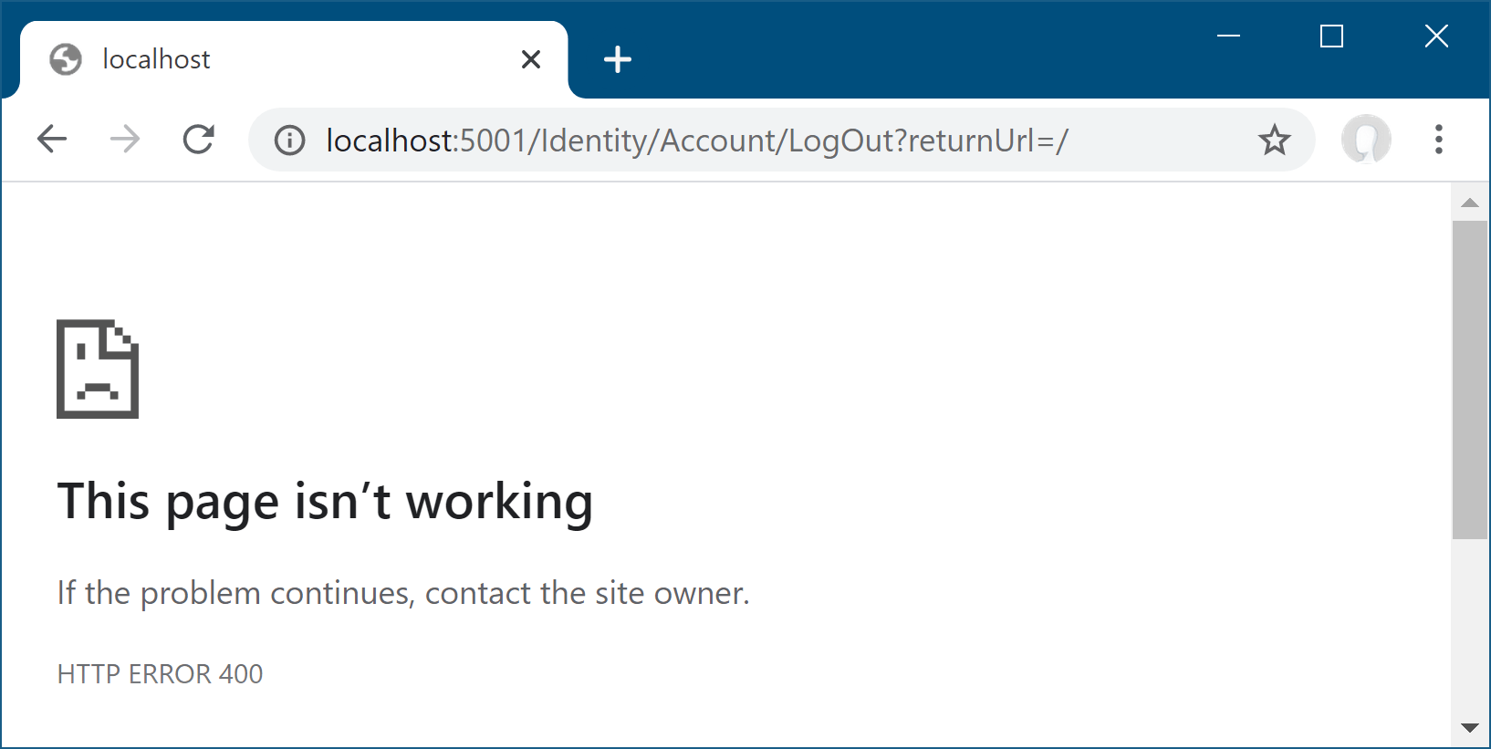 Error trying to log out
