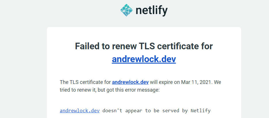 The email I received from Netlify