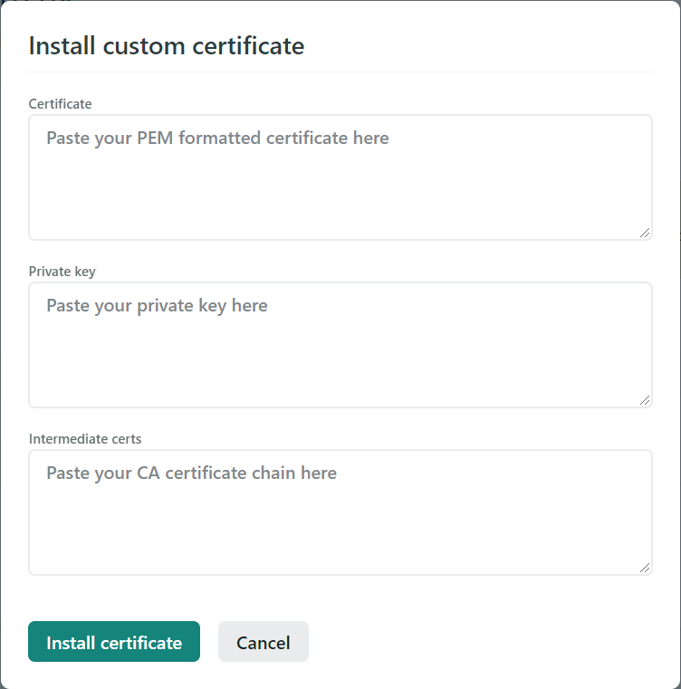 Create a custom certificate on Netlify