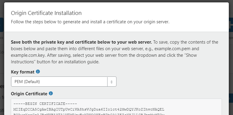 The custom origin certificate
