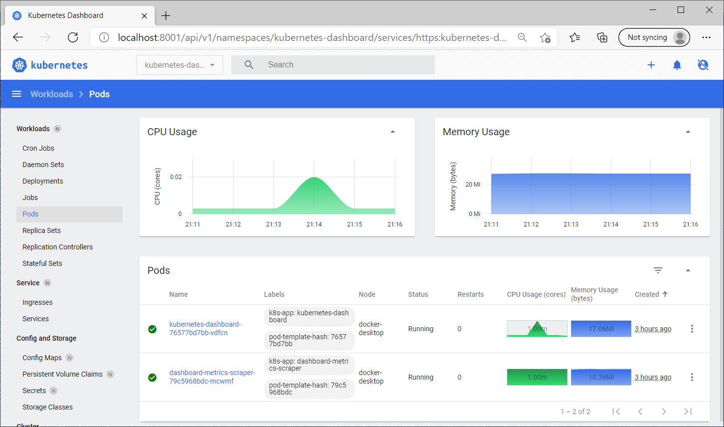 Running Kubernetes and the dashboard with Docker Desktop