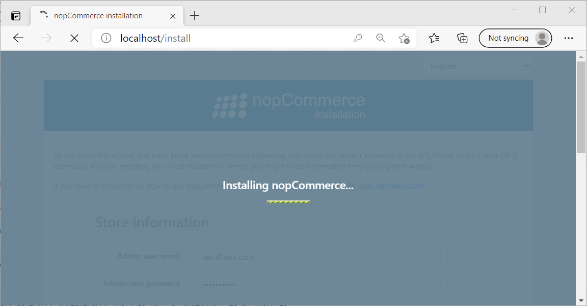 The nopCommerce installing screen
