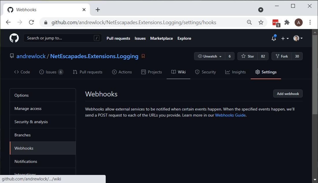 The webhooks screen in GitHub
