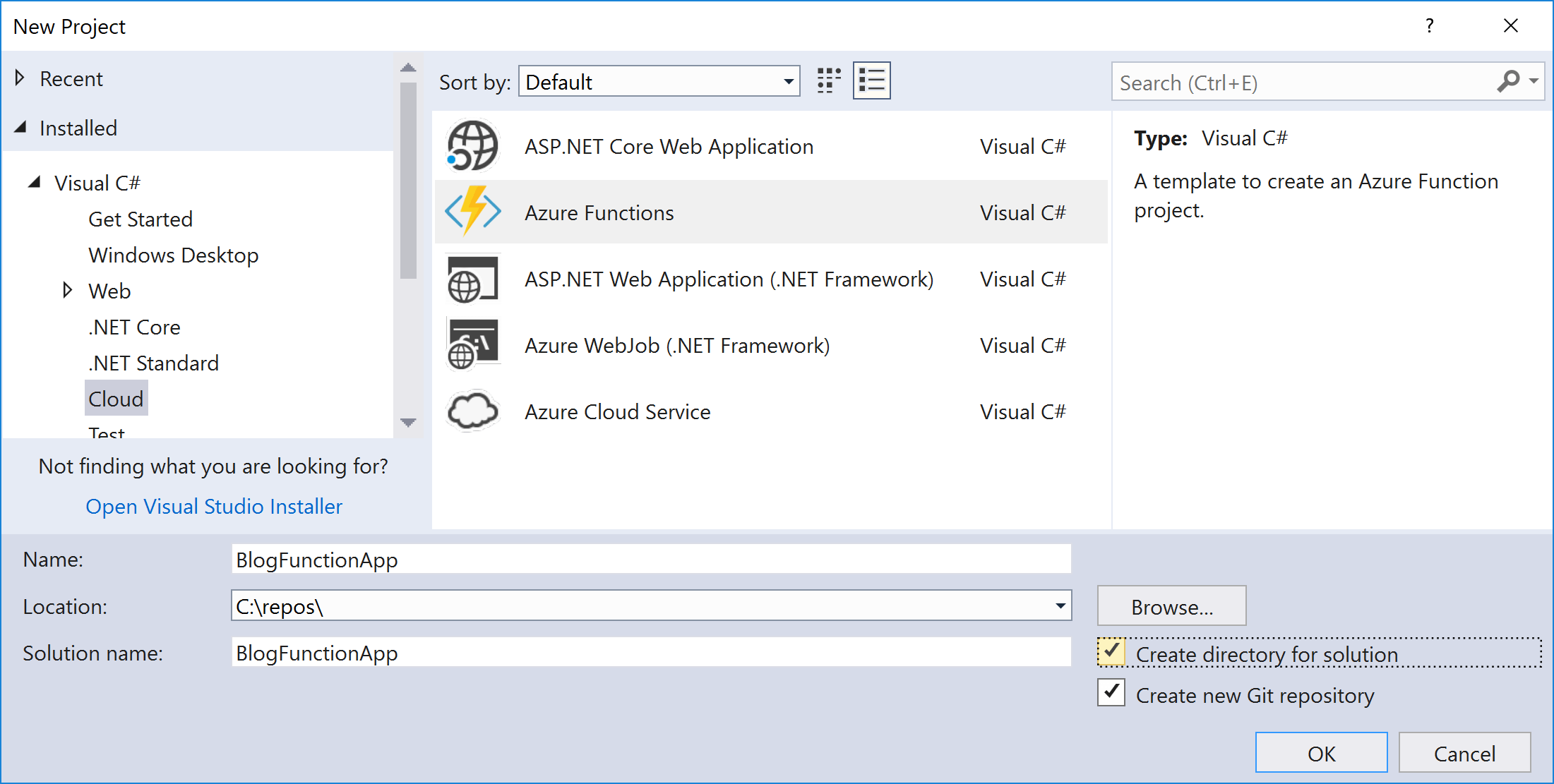 Creating my first Azure Functions v2 0 app: a WebHook and a